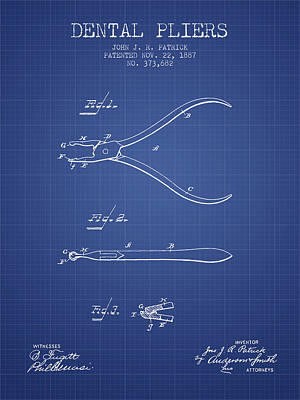 Dental Pliers Patent From 1887 - Blueprint Art Print by Aged Pixel