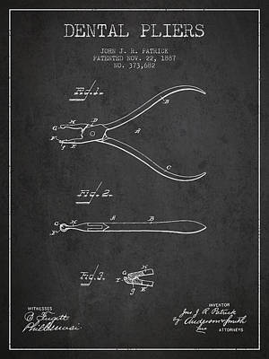 Dental Pliers Patent From 1887- Dark Art Print by Aged Pixel