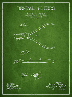 Dental Pliers Patent From 1887- Green Art Print by Aged Pixel