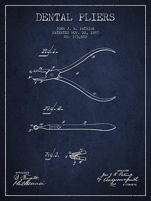 Dental Pliers Patent From 1887- Navy Blue Art Print by Aged Pixel