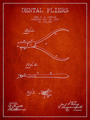 Dental Pliers Patent From 1887- Red Art Print by Aged Pixel