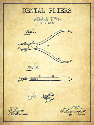 Dental Pliers Patent From 1887- Vintage Art Print by Aged Pixel