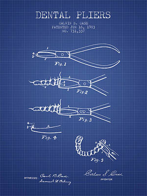 Dental Pliers Patent From 1903 - Blueprint Art Print