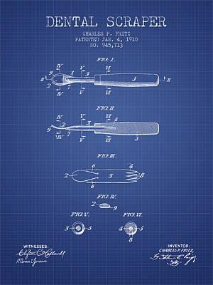 Dental Scraper Patent From 1910- Blueprint Art Print