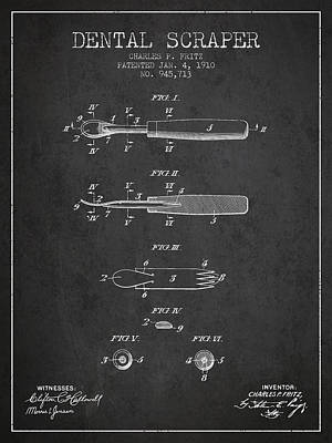 Dental Scraper Patent From 1910 - Dark Art Print by Aged Pixel