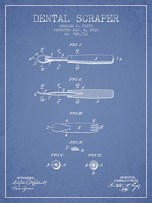 Tina Turner - Dental Scraper Patent from 1910 - Light Blue by Aged Pixel