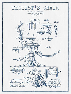 Dentist Chair Patent Drawing From 1892 - Blue Ink Art Print by Aged Pixel