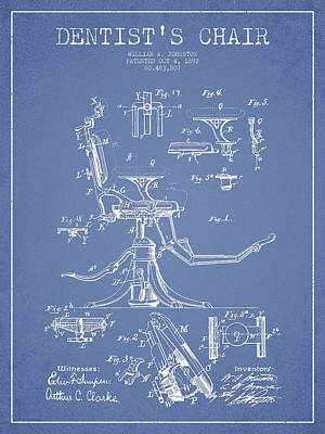 Dentist Chair Patent Drawing From 1892 - Light Blue Art Print
