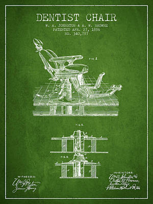 Dentist Chair Patent From 1886 - Green Art Print by Aged Pixel