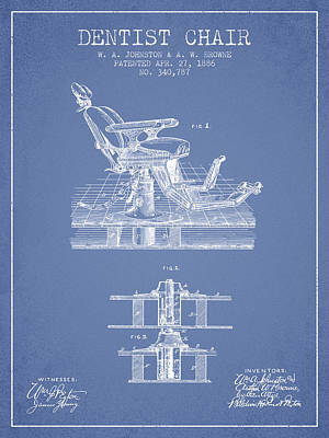 Chairs Digital Art - Dentist Chair Patent From 1886 - Light Blue by Aged Pixel