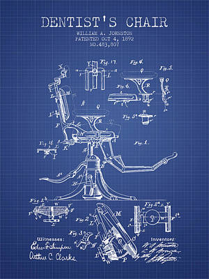 Dentist Chair Patent From 1892 - Blueprint Art Print