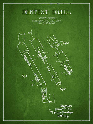 Dentist Drill Patent From 1965 - Green Art Print by Aged Pixel