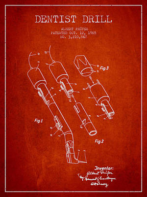 Dentist Drill Patent From 1965 - Red Art Print by Aged Pixel
