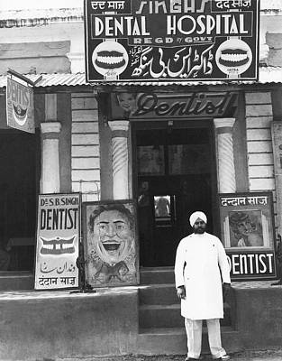 Dentist Photograph - Dentist In India by Underwood Archives