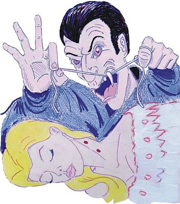 Drawing - Dentist Vampire Halloween by Mike Jory