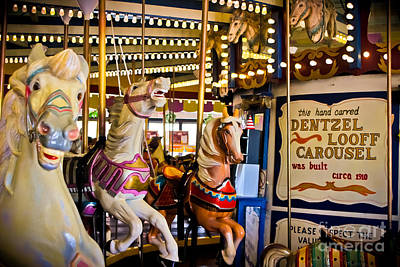 Nostalgic Sign Photograph - Dentzel Looff Antique Carousel  by Colleen Kammerer