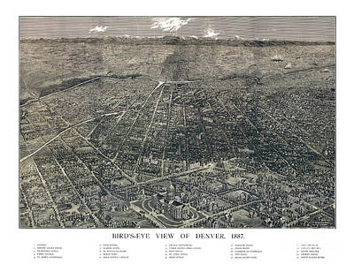 Old Map Painting - Denver - Colorado - 1887 by Pablo Romero