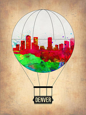 Denver Skyline Wall Art - Painting - Denver Air Balloon by Naxart Studio