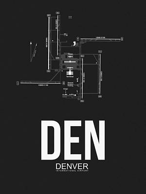 Town Mixed Media - Denver Airport Poster 1 by Naxart Studio