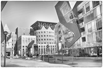 Museum Mixed Media - Denver Art Museum Courtyard Bw by Angelina Vick