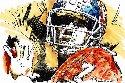 Denver Broncos Drawing - Denver Broncos - Elway by Jerrett Dornbusch