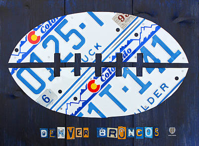 Football Mixed Media - Denver Broncos Football License Plate Art by Design Turnpike