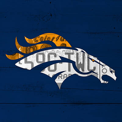 Sports Wall Art - Mixed Media - Denver Broncos Football Team Retro Logo Colorado License Plate Art by Design Turnpike