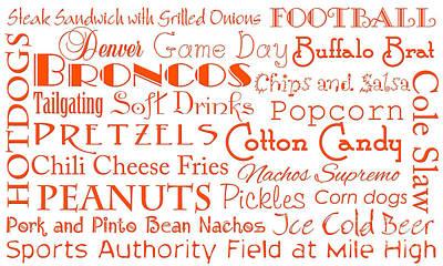 Digital Art - Denver Broncos Game Day Food 1 by Andee Design