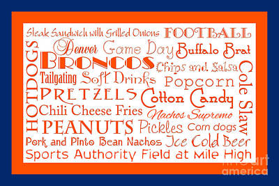 Digital Art - Denver Broncos Game Day Food 2 by Andee Design