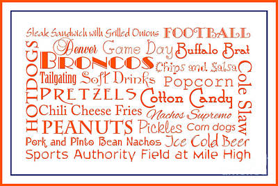 Digital Art - Denver Broncos Game Day Food 3 by Andee Design