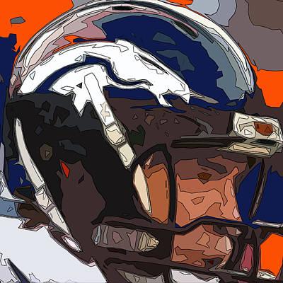 Denver Broncos Helmet Abstract 1 Art Print