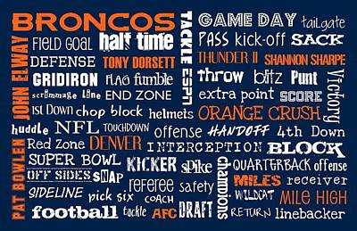 Denver Broncos Art Print by Jaime Friedman