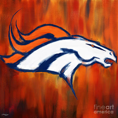 Painting - Denver Broncos by Lourry Legarde
