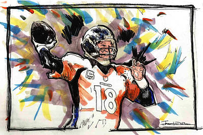 Denver Broncos Drawing - Denver Broncos - Manning by Jerrett Dornbusch