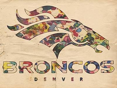 Mustang Painting - Denver Broncos Poster Vintage by Florian Rodarte