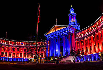 Photograph - Denver City And Country Building In Blue And Orange by Teri Virbickis
