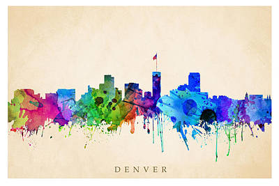 Digital Art - Denver Cityscape by Steve Will
