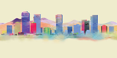 Painting - Denver Colorado Skyline I by Loretta Luglio