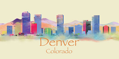 Painting - Denver Colorado Skyline II by Loretta Luglio