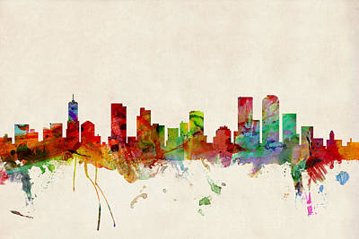 Watercolour Wall Art - Digital Art - Denver Colorado Skyline by Michael Tompsett