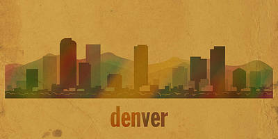 Skyline Mixed Media - Denver Colorado Skyline Watercolor On Parchment by Design Turnpike