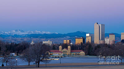 Denver Skyline Photograph - Denver Colorado Winter Skyline From City Park by Bridget Calip