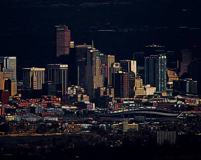 City Scape Digital Art - Denver Digital Art by Ernie Echols