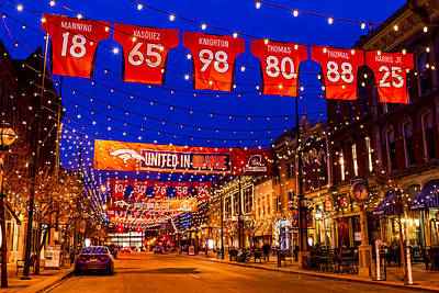 Denver Larimer Square Blue Hour Nfl United In Orange Print by Teri Virbickis