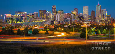 Denver Skyline Photograph - Denver Nightscape by Inge Johnsson