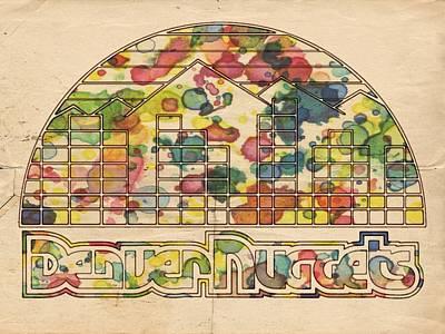 Painting - Denver Nuggets Poster Retro by Florian Rodarte