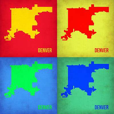 Country Map City Map Painting - Denver Pop Art Map 1 by Naxart Studio