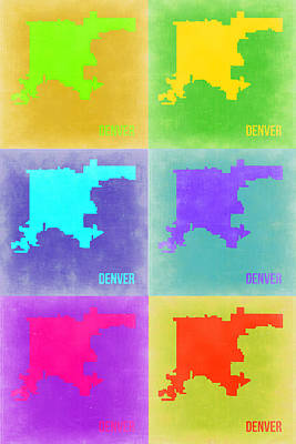 Modern Poster Painting - Denver Pop Art Map 3 by Naxart Studio