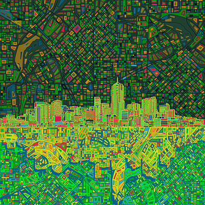 Painting - Denver Skyline Abstract 3 by Bekim Art