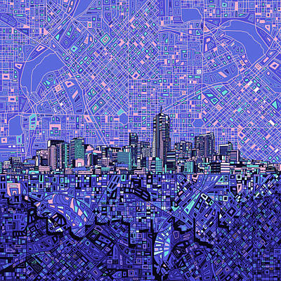 Abstract Skyline Paintings - Denver Skyline Abstract 4 by Bekim M